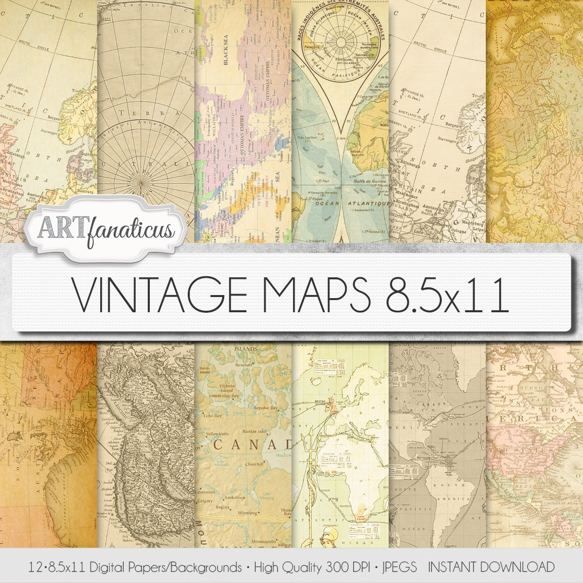 Vintage maps 85x11 digital paper vintage maps backgrounds this is a digital file gumiabroncs Gallery