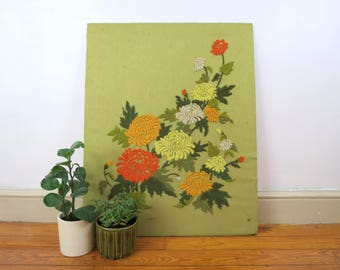 Crewel Floral Embroidery // Vintage Finished Green Orange Yellow Retro Yarn Flower Pattern Embroidered Wall Art 1960's 1970's Mod Unframed