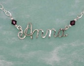 Personalized Ankle Bracelet with Swarovski Birthstone Beads, Any Name, Anklet, Gift for Her, Beach Wedding, Bridal Gifts, Sterling Silver,
