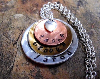 Personalized Jewelry, Mommy Necklace, Mother's Day Jewelry, Personalized Necklace, Hand Stamped Jewelry, 3 discs, tricolor