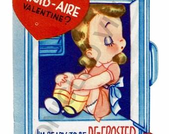 Vintage Valentine Digital Download Freezer Girl