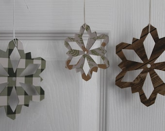 14 gingham/woodgrain/pinecone cream/green paper covered chipboard large/small Snowflake diecuts use as ornaments, garlands+