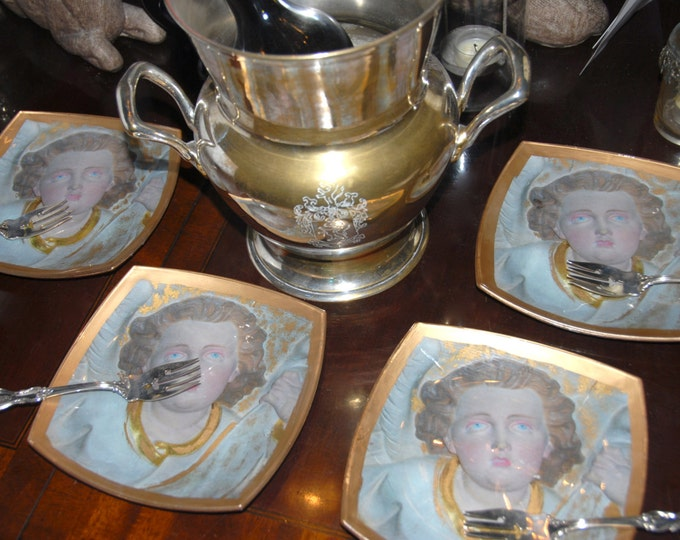 Angel Plates - Art Glass - Set of 4 Serveware