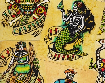 Day of the Dead Art POSTCARDS Mexican Loteria Tattoo Art - Set of 8 Designs