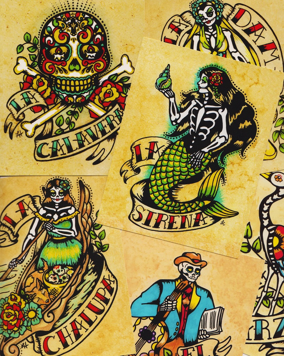 Day of the Dead Art POSTCARDS Mexican Loteria Tattoo Art Set