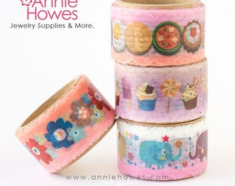 Die Cut Washi Tape in Food, Flowers and Elephant Themes