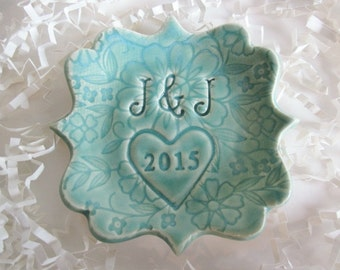 Ring dish, Wedding gift, Wedding Ring Holder, Gift for Couple, Ring cone, mint green ring dish, gift for her, ring post, custom initials