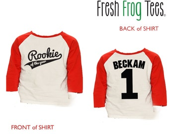 First Birthday Rookie of the Year Shirt - 3/4 or long sleeve relaxed fit raglan baseball shirt - any age and name - pick your colors!