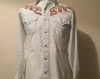Vintage Western embroidered pearl snap shirt - Cowboy shirt - Vintage mens shirt - western shirt - Mens medium shirt - Button up shirt