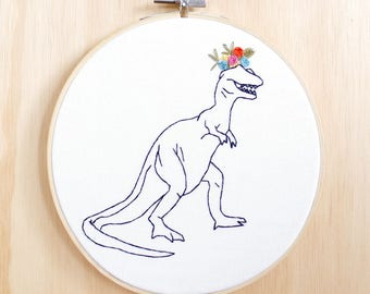 Flower-saurus Rex hand embroidered Hoop Art, wall art