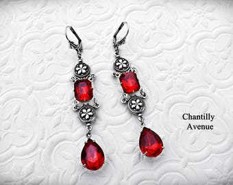 Ruby Victorian Earrings, Vintage Style Victorian Jewelry Handmade, Red Rhinestone Earrings, Gothic Style