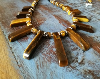 Tigers Eye Fan Necklace, Tigers Eye Necklace, Brown Stone Beaded Necklace