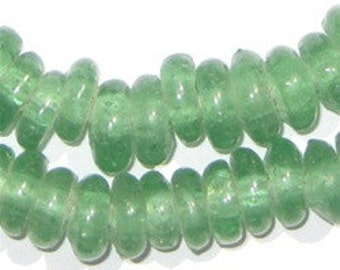 90 Recycled Glass Beads Rondelle - Tribal Glass Beads - Ethnic Glass Beads - Powder Glass Beads - Green Spacer Beads (RCY-DISK-GRN-579)