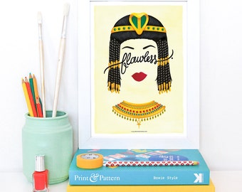Flawless Cleopatra Poster, Calligraphy Print, Minimalist Illustration, Music Poster, Typography Art Print, Queen B Gift for Her