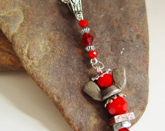 Blood Red and Silver Beaded Antique Silver Upcycled Wing Nut Angel Necklace