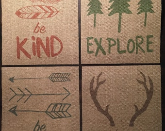 Have Courage, Be Brave, Explore, Be Kind | Woodland | Burlap Fabric Print Set | 8x10 | Rustic Decor | Nursery Decor | Home Decor | Camping