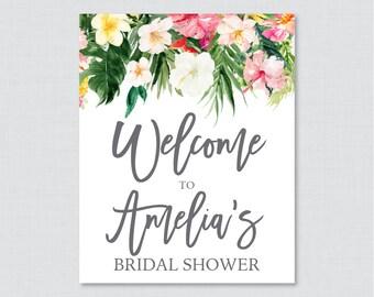 Tropical Bridal Shower Welcome Sign Printable - Hawaiian Flower Bridal Shower Customizable Sign - Palm Leaf Luau Bridal Shower Decor 0032