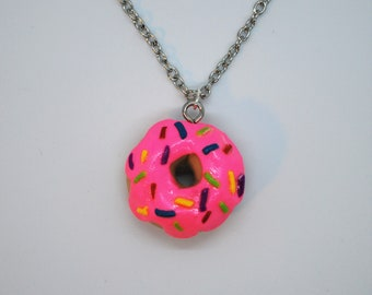 Miniature Strawberry-Frosted Donut Necklace