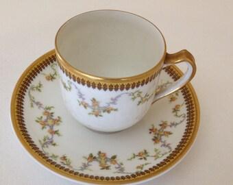 """Vintage """"Valmont"""" Haviland Limoges Demitasse Espresso Tea Cup  Gold trim with Roses  - France-"""