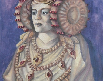 ancient oracle of unknown origins-watercolour and gouache on paper, matted in blue and tan suede