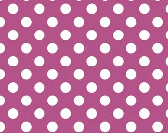 Fuschia Polka Dot Fabric - Riley Blake Medium Dot - Purple and White Dot Fabric
