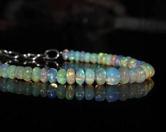 Natural Opal Bracelet - Ethiopian Opal Beads - Fire Opal Bracelet - Opal Jewelry - Genuine Opal - AAA Quality Opal