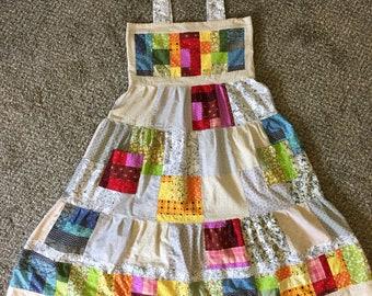 Small Medium Handmade Hippie Patchwork Dress w/ Pockets!  White grey rainbow calico hippy mama Grateful Dead Phish gypsy boho festival!
