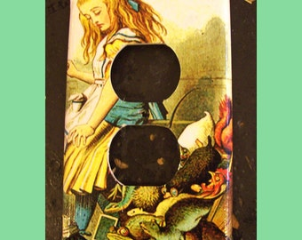 Alice in Wonderland oulet switch plate retro vintage Victorian fairy tale light switch outlet