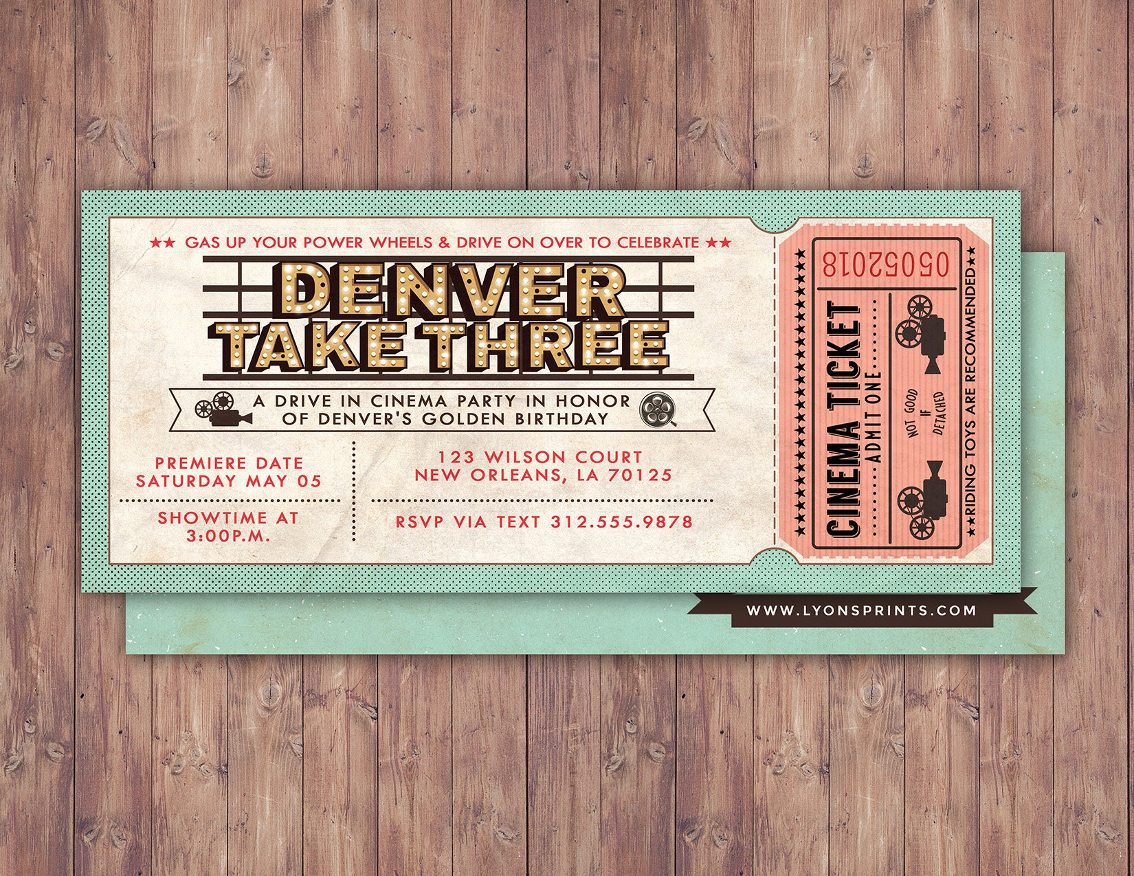 Vintage, retro, cinema ticket, Birthday Invitation, ticket ...