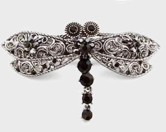 Large Crystal Dragonfly Hair Barrette Clip Accessory Jewelry Ponytail Holder Antique Silver Tone Black Gray Grey