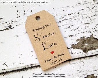 sending you smore love tags, personalized with your names and wedding date, smores favor tag, custom wedding tags, favor tags (T-103)