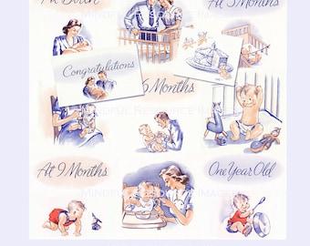 retro  baby book printable babys  year colorful