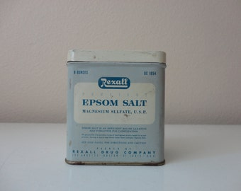 VINTAGE REXALL epsom salt TIN container
