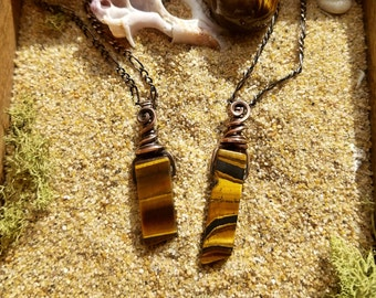 Tigers Eye Swinging Stone Wire Wrapped Pendant, Necklace