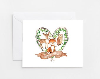 Woodland Thank You Card, Printable Card (580)