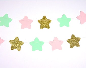 Twinkle, Twinkle Little Star Stars Garland, Glitter Gold, Blush and Mint Garland