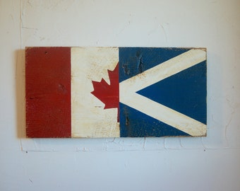 Half Canada Half Scotland Flag Wood Sign - Scotland sign - Canada sign - outdoor flag - Scottish flag - Canada flag - St. Andrew's Cross