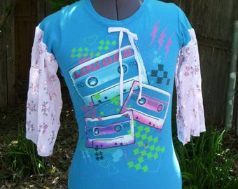 Upcycled Shirt, Vintage Cassettes, Lace Sleeves, Aqua Shirt, Bell Sleeves, Recycled Clothing, Refashion, Music,Unique Clothing, Eco Clothing
