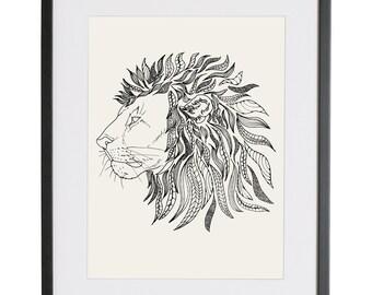 Line Art Lion : Lion art etsy