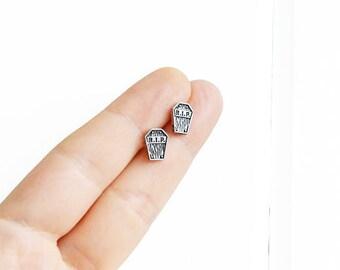 Coffin Earrings, Halloween Earrings, Handmade Earrings, Tiny Studs Kawaii Posts Hipster Trendy Miniature Posts, Gifts for Her
