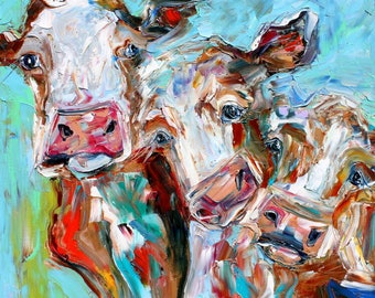 Cows painting original oil abstract palette knife impressionism on canvas fine art by Karen Tarlton