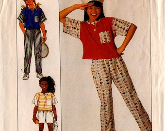 "1989 Girls' PANTS SHORTS TOP Pattern Simplicity #9175 Size 7-14 ""Easy-to-Sew"" Surf Club Summer Clothes Vintage Sewing"