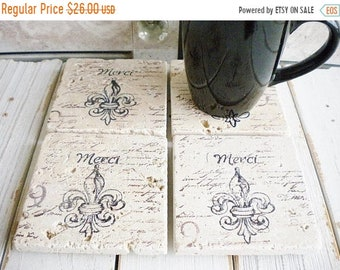 Sale French Stone Coasters Fluer di lis, Set Of 4 Designer Drink Coasters Thank You Gift Wedding Gift Home Decor Travertine Coasters