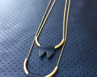 PLEASE ME Vinyl Peaks on a Curved Brass Tube Necklace or Choker