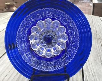 Beautiful Cobalt Blue Glass Plate Flower