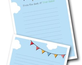 Customised Teacher Bunting Notepaper - Printable