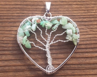 Heart Style CHRYSOPRASE Tree Of Life Wire Wrapped Pendant Stone Natural Gemstone