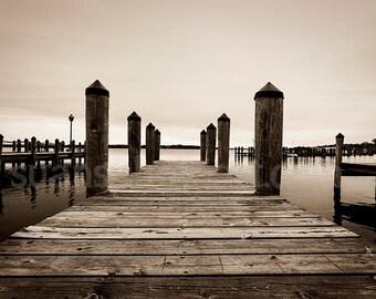 Docks Lake Minnetonka, Wayzata MN,  sepia digital photo, water, contemporary art, nature, office art, wall art, Minnesota, paper art