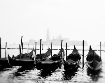 venice italy photography, travel photography, nautical decor, europe art, water, boat photograph, Gondolas in Black & White V22