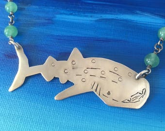 Whale Shark Statement Necklace Hand Sawn Sterling Silver With Adventurine Gemstones